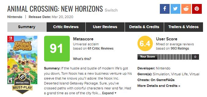 Jogadores irritados estão derrubando a nota de 'Animal Crossing: New Horizons'