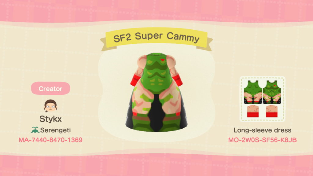 Designs de Street Fighter para Animal Crossing: New Horizons
