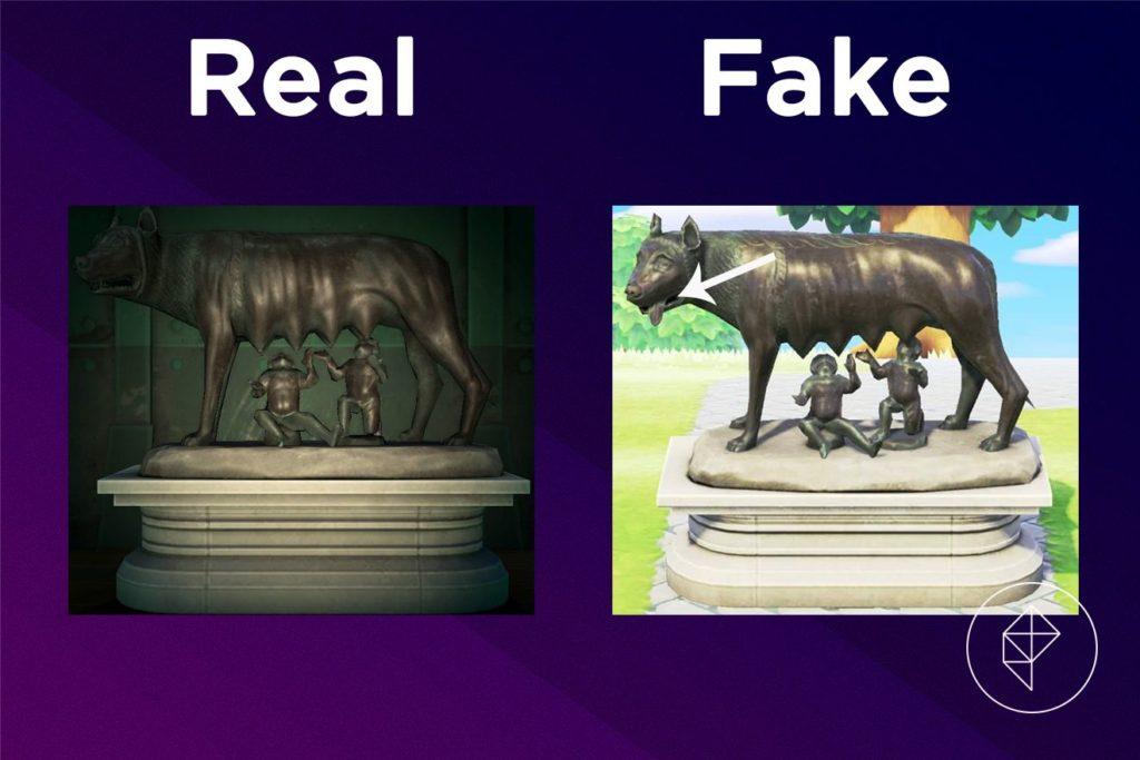 A graphic showing that the fake Motherly Statue's wolf has a tongue sticking out