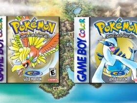 Ilustração: Box Arts dos jogos Pokémon Gold e Silver em frente ao mapa de Johto