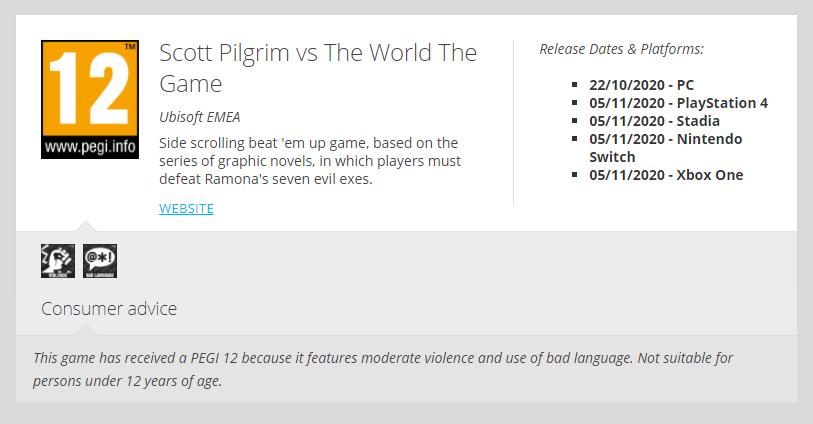 Scott Pilgrim vs. The World: The Game - Complete Edition recebe classificação etária